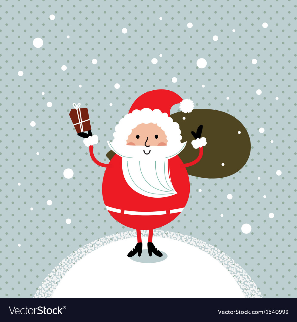 Cute retro santa isolated on snowing background vector | Price: 1 Credit (USD $1)