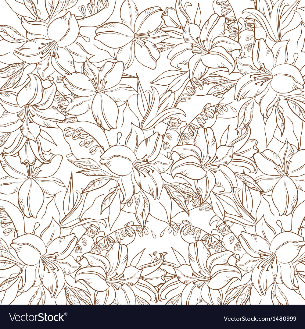 Floral contour pattern lily and mine vector | Price: 1 Credit (USD $1)