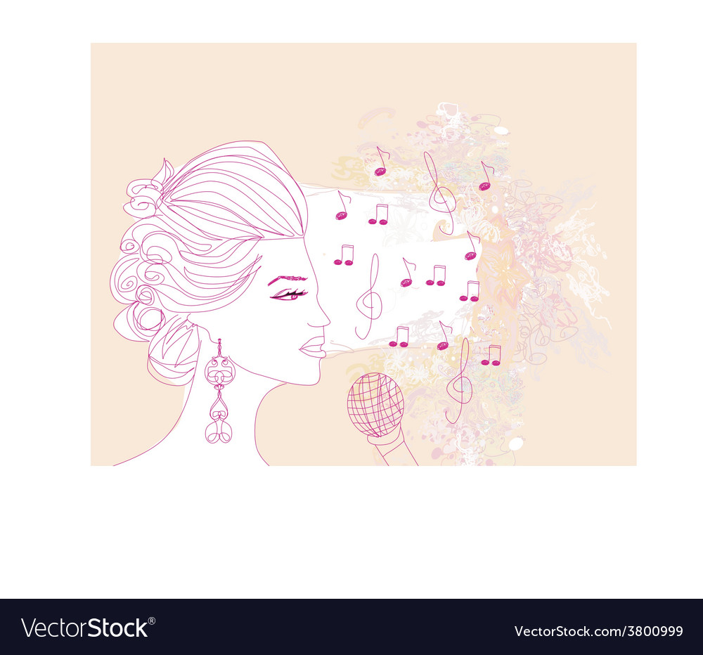 Hand drawn girl singing a song on a floral vector | Price: 1 Credit (USD $1)