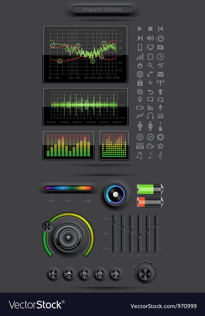 Infographics elements with media icons and buttons vector | Price: 3 Credit (USD $3)