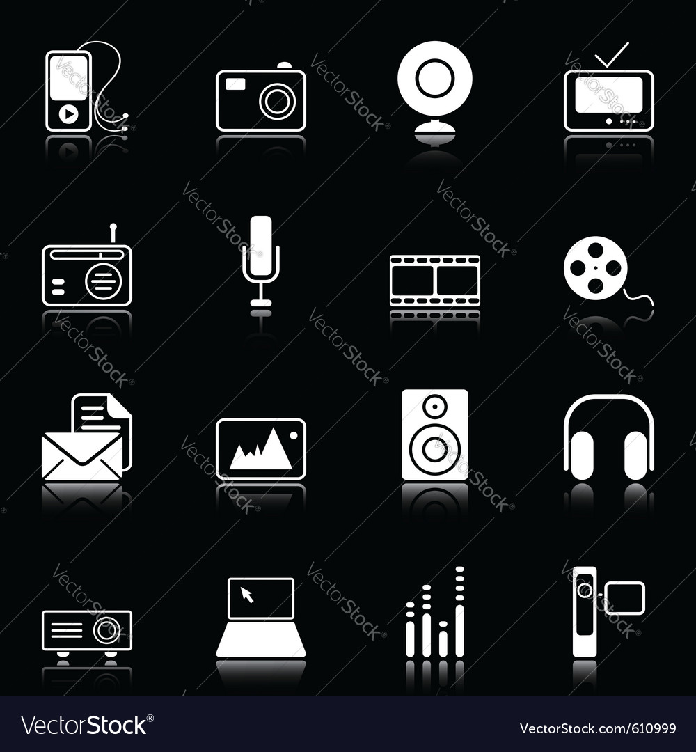 Mass media icons vector | Price: 1 Credit (USD $1)