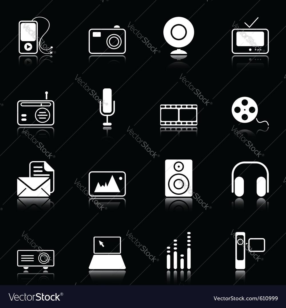 Mass media icons vector | Price: 1 Credit (USD $1)