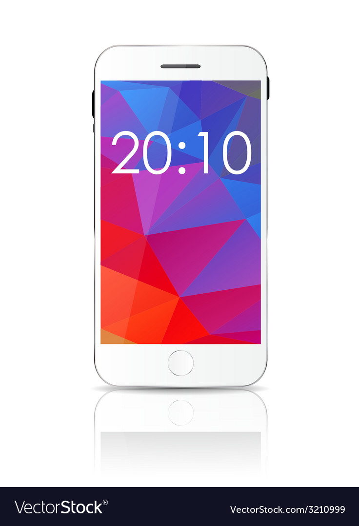 New realistic mobile phone with colorful screen vector | Price: 1 Credit (USD $1)