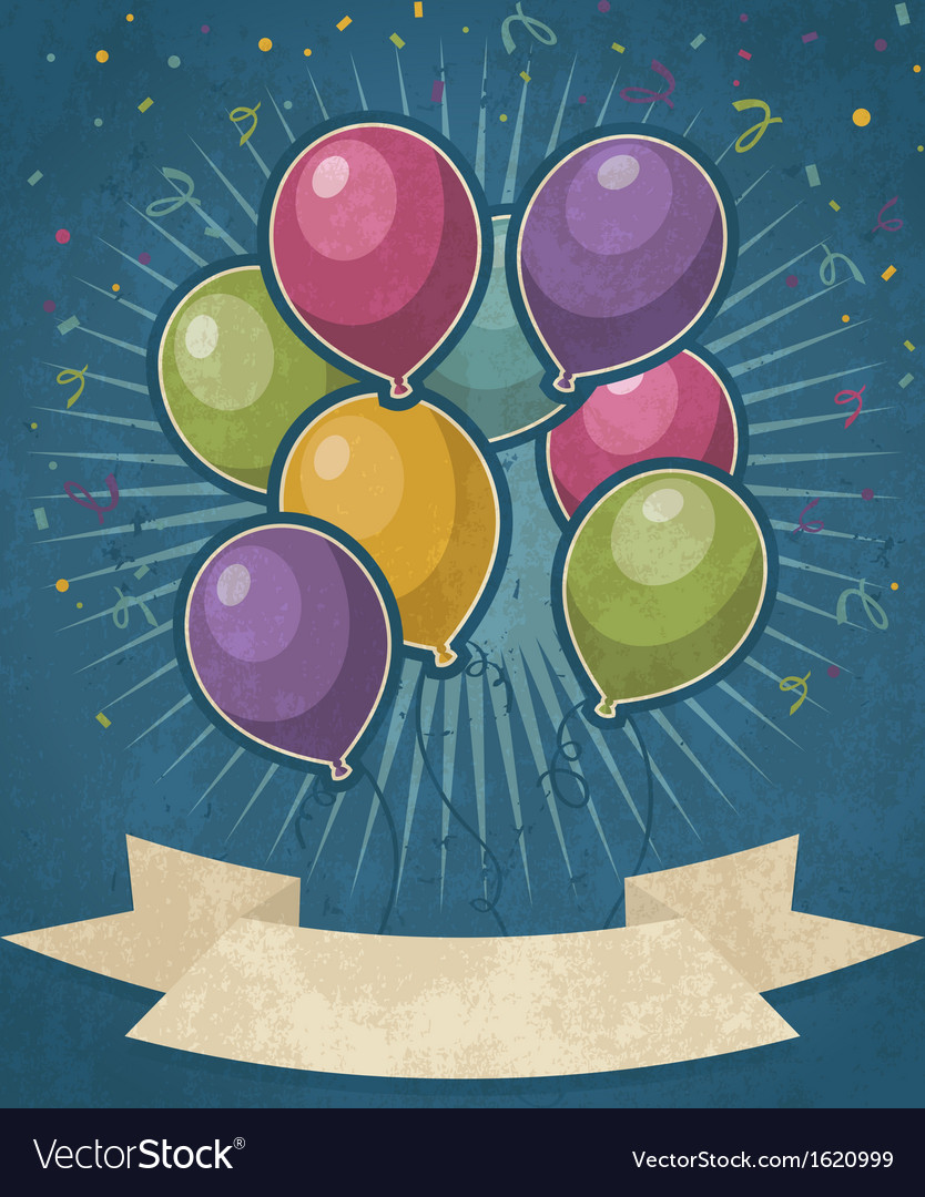 Retro party balloons vector | Price: 1 Credit (USD $1)