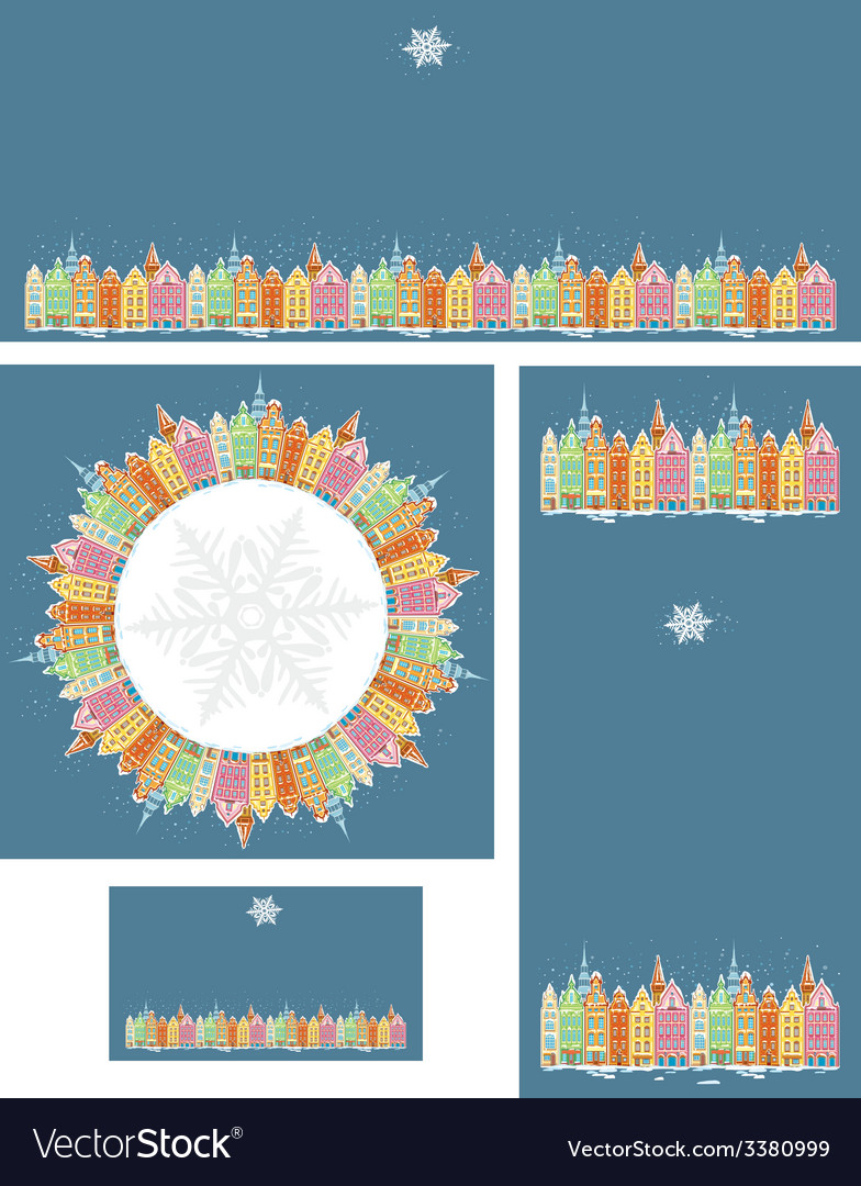 Set of christmas cards with snowy old town vector | Price: 1 Credit (USD $1)