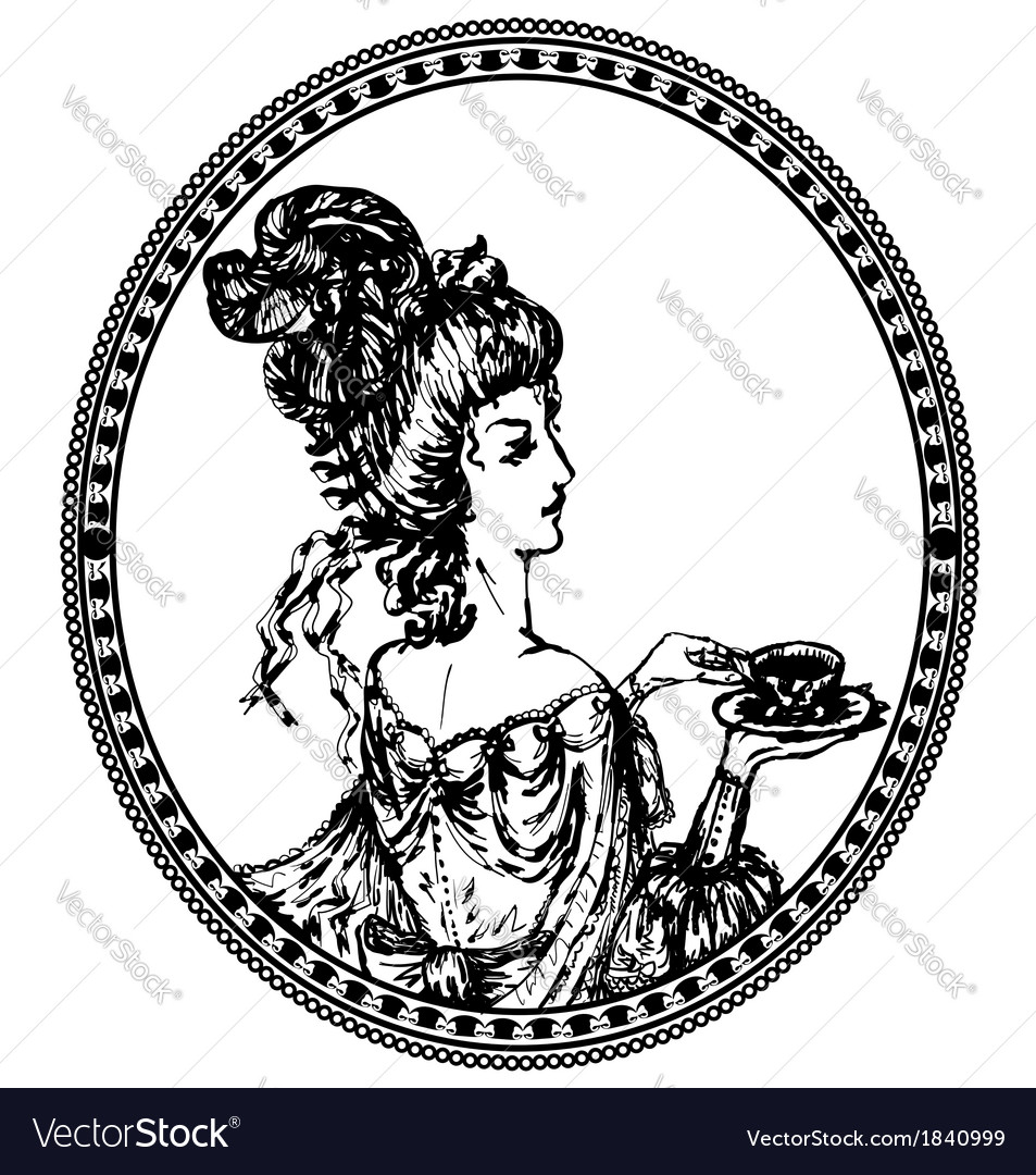 Vintage lady vignette vector | Price: 1 Credit (USD $1)