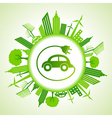 Eco cityscape with electric car vector