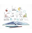 Open book business doodle vector