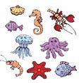Set of cartoon fish shell seahorse craw fish vector