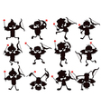 Cute cartoon style of cupid silhouettes vector