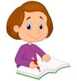 Little girl cartoon writing on a book vector