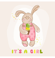 Baby bunny with ice cream - arrival card vector