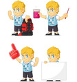 Blonde rich boy customizable mascot 11 vector