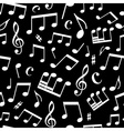 Black and white seamless music pattern vector