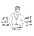 Cartoon waiter vector