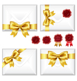 Set of envelopes with golden bow and wax seals vector