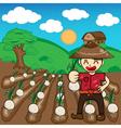 Farmer and onion plants a harvest cartoon vector