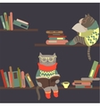 Cats reading books on bookshelves vector