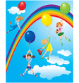 Girls flying away on balloons on sky with rainbow vector