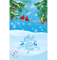 Card with fir tree branches and bullfinch birds vector