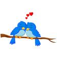 Cartoon blue bird in love vector