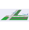 Airplane takeoff from runway vector