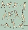 Woman tennis action sport vector