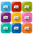 Buttons with mailbox vector
