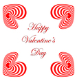 Design valentines day card with striped red hearts vector
