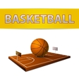Basketball ball and field with rings emblem vector