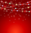 Red holiday background with colored lights and vector