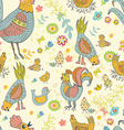 Chicken and rooster cartoon seamless pattern vector