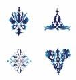 Set of damask ornamental elements blue ele vector