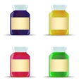 Glass jars with jam vector