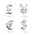 Currency silver symbols vector