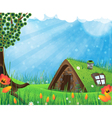 Sod roof house vector