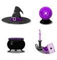 Halloween set with witch accessories vector