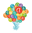 Funny english alphabet in colorful air balloons vector