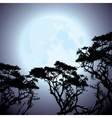 Big blue moon and silhouettes of tree branches vector