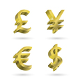 Currency gold symbols vector