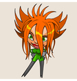 Cartoon character cheerful girl with red hair vector