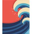 Sea waves poster of sea landscape vector
