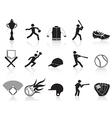 Black baseball icons set vector