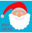Face of santa claus merry christmas card vector