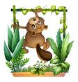 A beaver climbing vector