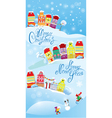 Card with small fairy town on light blue sky backg vector