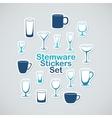 Set of stemware icon stickers vector