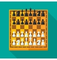 Chess figures and board set in flat style vector
