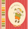 Cartoon little girl greeting card vector