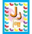 Flash card j vector